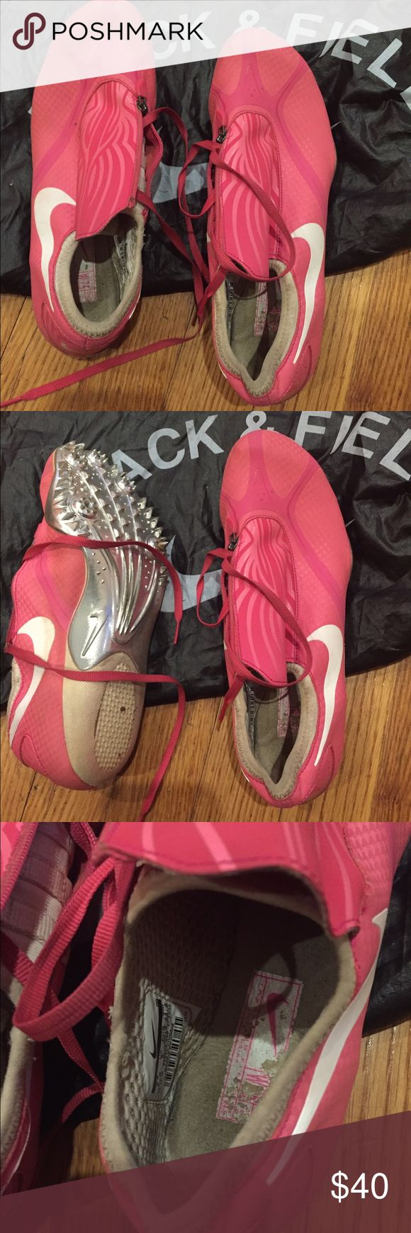 Nike Spikes Pink Nike Spikes. Used for long jump. You will need new spikes. Bag included. Nike Shoes Athletic Shoes