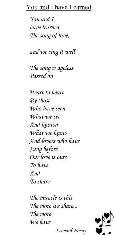 Poem Leonard Nimoy