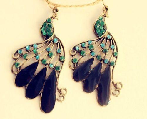 Fashion-Elegant-Full-Rhinestone-Peacock-Pendant-Vintage-Bronze-Dangle-Earrings