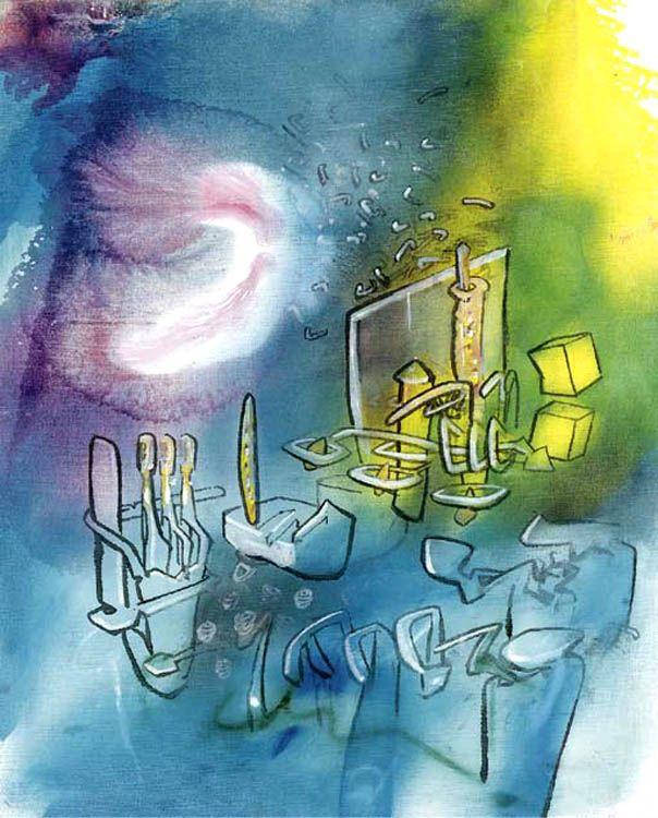 Composición de dos cubos -  Roberto Matta (1965)   -Mezcla el normal y el anormal o el abstracto  -Tiene muchos colores brilliantes ajuste mundano                  -semiabstracto - formas y tamaños deformados - impressionista -lineas fuertes