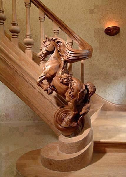 Carved horse stairs https://www.facebook.com/photo.php?fbid=262687920585472