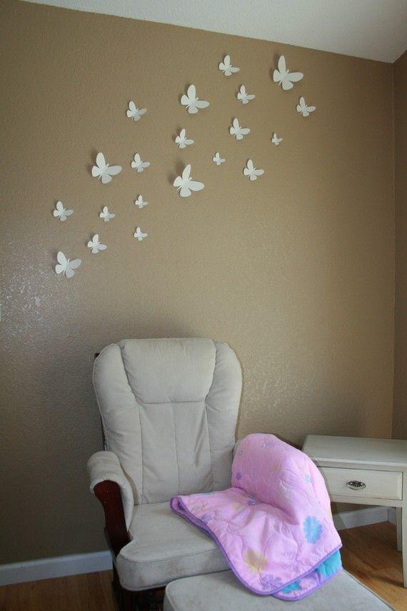 Erflies Wall Decor Any Color By Embellishedpaper On Etsy Alleen Vlinders Op De Muur Kan Je In Allerlei Kleuren Maken En A