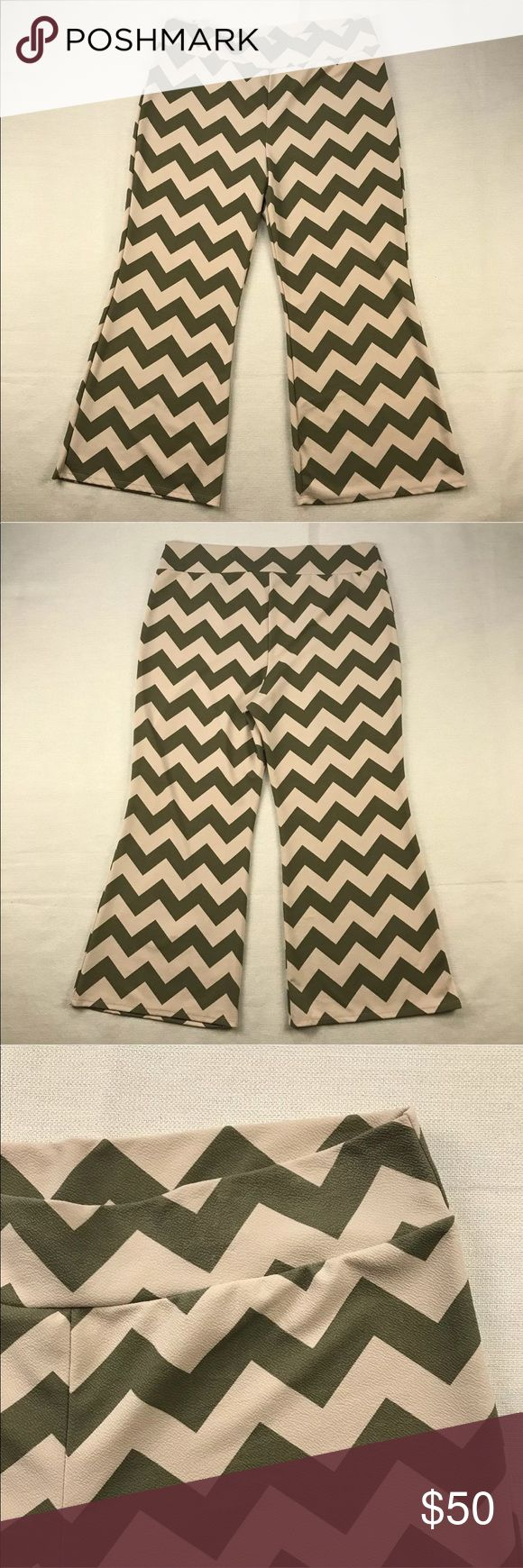 """Vamp Lounge Chevron Pants Vamp Lounge Chevron Pants  Women's Plus Size: 3X   Material: 95% Polyester 5% Spandex  No flaws.  Measurements lying flat: Waist 22"""", Inseam 30"""", Front Rise 16"""", Back Rise 18"""".  Please, review pictures. You will get the item shown. Smoke & pet free home. Vamp Pants Wide Leg"""