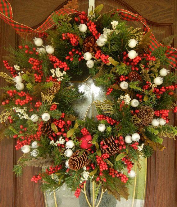 Christmas wreath holiday wreath front door decor for Front door xmas wreaths