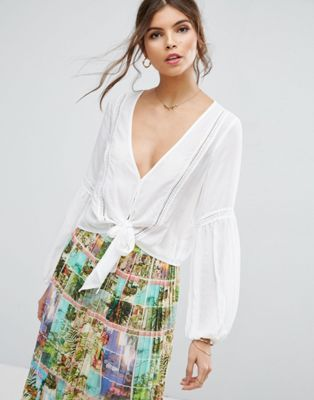 ASOS Plunge Blouse with Tie Front and Lace Inserts