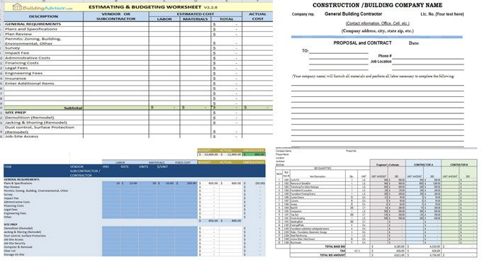 Five Best Free Construction Estimating Templates