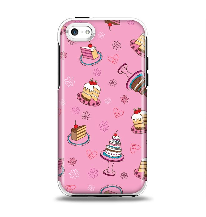 The Pink with Yummy Cakes Apple iPhone 5c Otterbox Symmetry Case Skin Set