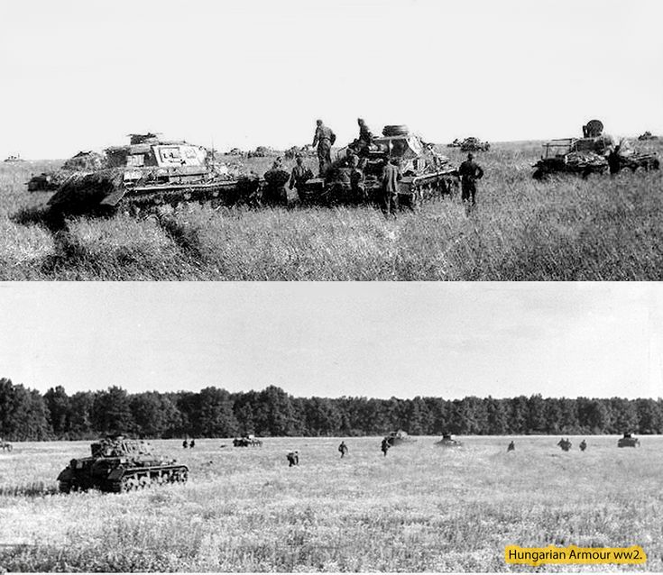 Hungarian soldiers and panzers on battlefield 1942. summer.  Don regio Russia. Hungarian army use differnt type panzers at battlefield.: Pz4.f1. german panzers,Pz38.t,and Hungarian Toldi 38.M light panzers.