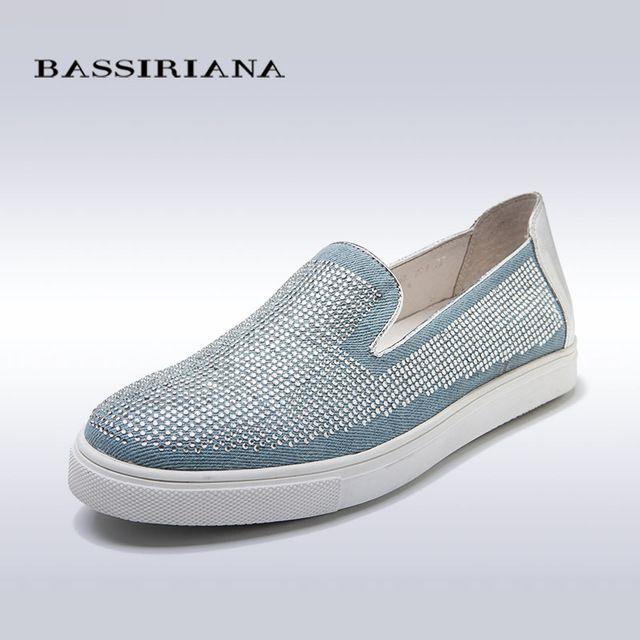 Slip-on обувь женщина Новая весна 2017 35-40 Синий деним Черный замши Удобные ботинки женщин Бесплатная доставка BASSIRIANA