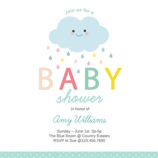 Shower Cloud printable invitation template. Customize, add text and photos.  Print, download, send online or order printed!