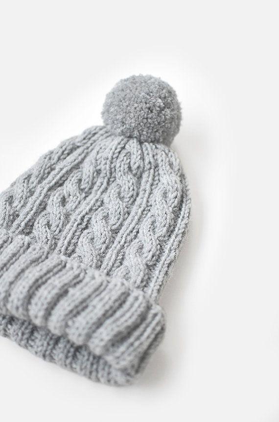 Hand Knit Beanie Hat Womens Chunky Hat Mens Ski Hat by Plexida