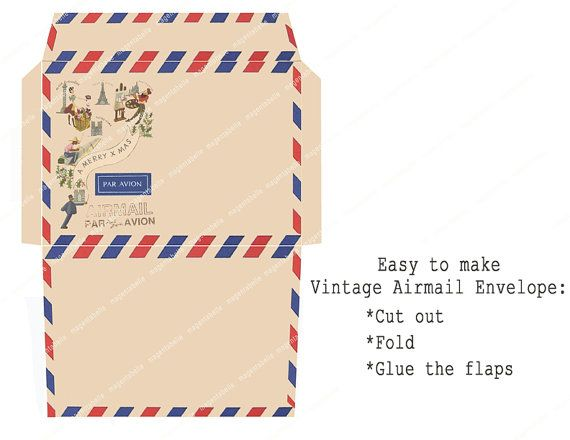 VINTAGE AIRMAIL PRINTABLE Christmas Card And By