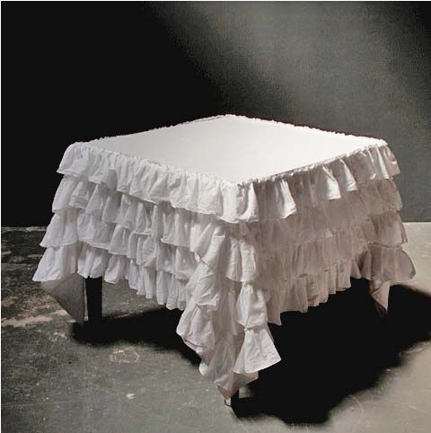 Audrey Ruffle Tablecloth-pom pom home...LOVE but would I have any chance of keeping clean w/2 boys??