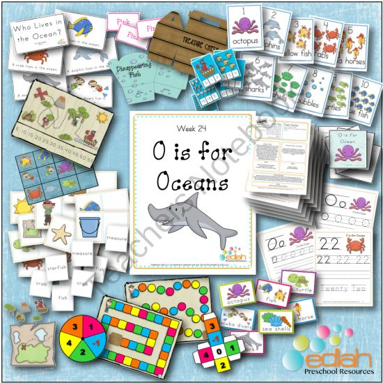 O is for Oceans Themed Lesson Plans from edlah Preschool Resources  on TeachersNotebook.com (75 pages)  - I Love the new O is for Oceans Themed Lesson Plans from edlah.com!!!!