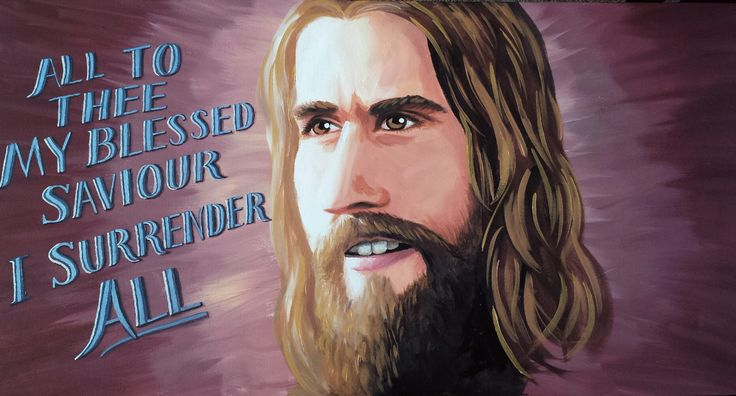 """""""I Surrender All"""" Painting of Jesus, with lyrics from """"I Surrender All."""" Painted live for my Mum at her farewell from Wyndham City Corps. Acrylic on Canvas by Jo Brookshaw."""
