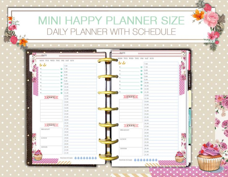 Daily Schedule Mini Happy Planner Hourly Insert Printable Undated Pdf Instant Download di FiloDelight su Etsy
