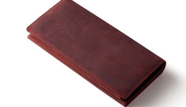 ボルドー(赤色)のナポレオンカーフ・アレッジドウォレット。起毛の仔牛革 | 100万円入る長財布.com