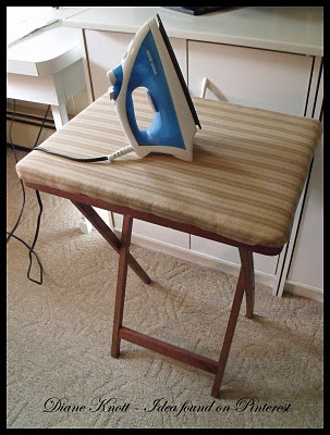 Mini iron board from a tv tray,,,for my craft room