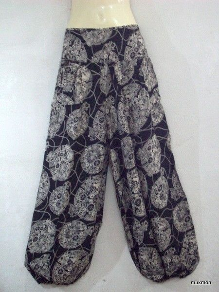 Casual Pants Trousers Capris Yoga Genie Harem Gypsy Beach Black,One Size S-L #Handmade #Casual