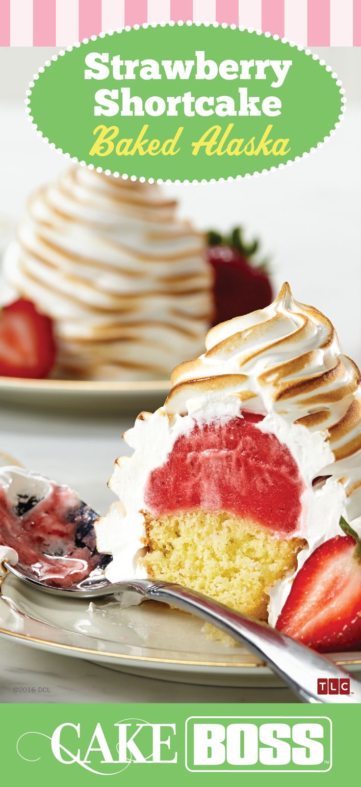 Buttery pound cake topped with sweet frozen strawberry sorbet and fluffy, brûléed meringue. Click on the image for our Strawberry Shortcake Baked Alaska recipe.