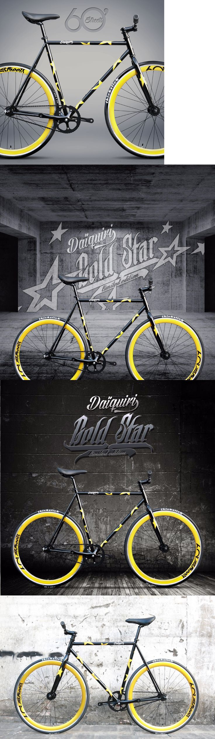 Vintage Bicycles 177858: Daiquiri Gold Star Limited Edition Fixed Gear Bike Fixie Single Speed Bicycle M BUY IT NOW ONLY: $299.0
