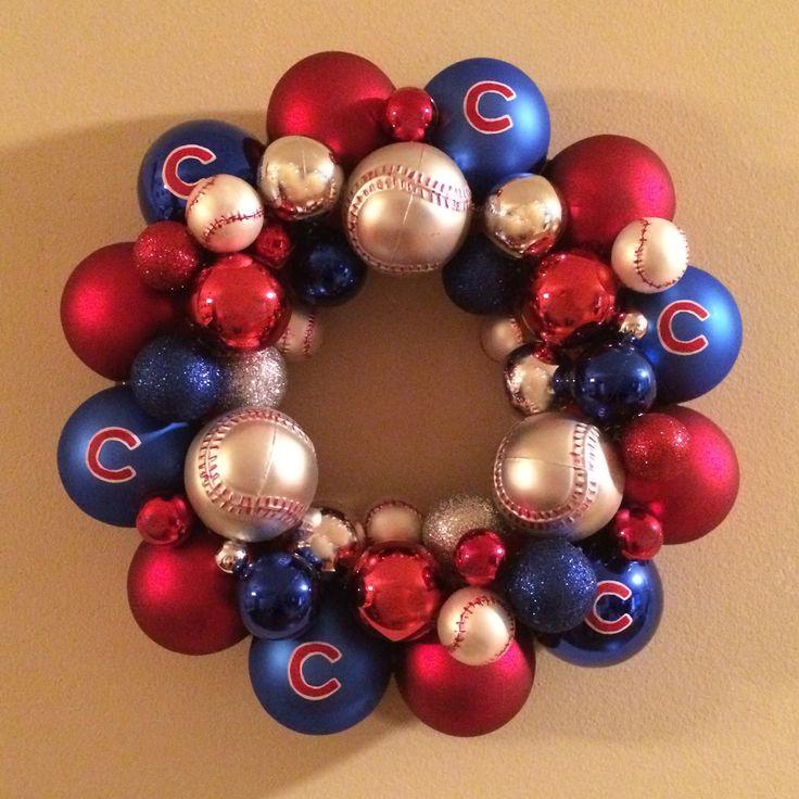DIY Chicago Cubs Christmas Ornament Wreath