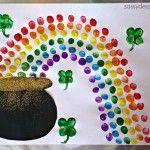 Fingerprint Rainbow Pot of Gold Craft For St. Patrick's Day