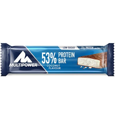 Multipower 53% Protein Bar, bir barda 27 gr protein, 9 gr karbonhidrat içeren, düşük yağ ve şeker seviyesine sahip protein bar, supplement ürünüdür. Multipower Protein Bar zengin protein içeriği sayesinde antrenman sonrası yenilenme ve kas yapımı için yardımcı olabilir. Bir kutuda 24 adet protein bar içerir.