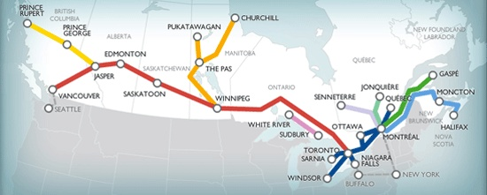 Red line is where we will be travelling in Apr/May 2014  Via Rail Canada - legendary Canadian journey