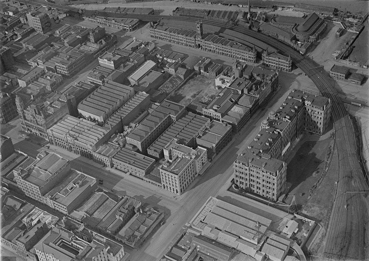 Western Melbourne, 1910s, showing Fish Market and Victorian Railways buildings.