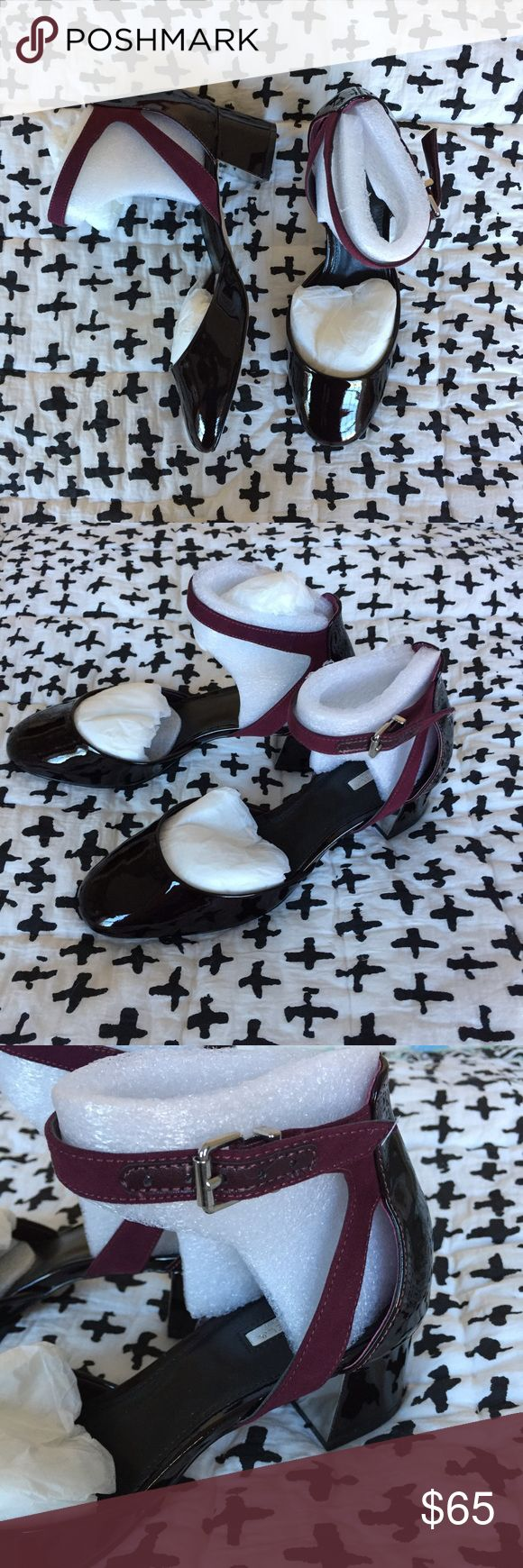 NIB Kurt Geiger Carvela Wine Strap Heels Sz 39 Beautiful mid- height heels in burgundy wine patent leather and suede. Ankle strap is adjustable.  Brand new, in box, never worn. Slightly too big on me (I usually wear US 8). ASOS Shoes Heels