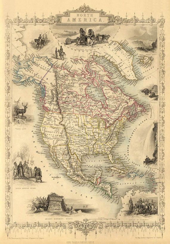 The map of North America from 1851 - print  -----------  The image for this print was digitally enhanced for best appearance. Most of the folding