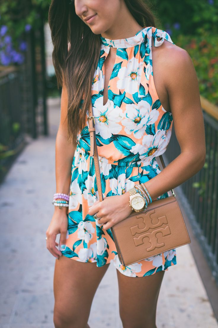 floral keyhole romper, floral romper, brown wedge sandals, tropical print romper // @asoutherndrawl