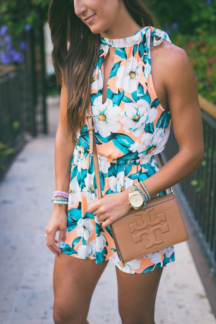 floral keyhole romper, floral romper, brown wedge sandals, tropical print romper // @asoutherndrawl