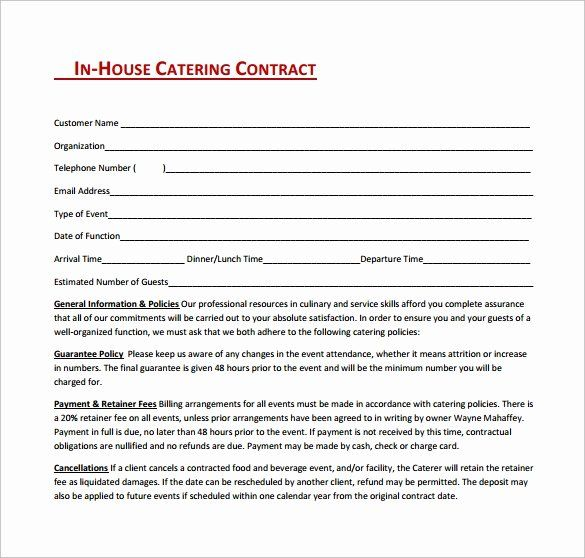 Contract For Catering Services Template Elegant Catering Contract Template 9 Download Free Documen In 2020 Contract Template Catering Services Wedding Catering Near Me