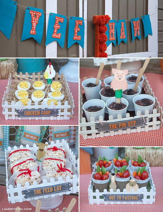 """Yee Haw!  Farm Party by Lisa Frank and Lia Griffith:  I painted $1 square wooden frames from Michaels and hot glued mini popsicle sticks to create picket fences, which I hot glued to the sides of the frames.  The """"chicken coop"""" held deviled eggs, the """"pig sty"""" held Oreo dirt pudding, the """"feed lot"""" held pound cake-toasted coconut hay bales tied with licorice ropes, and the """"out to pasture"""" tray held garden veggies in waxed paper-lined mini peat pots."""