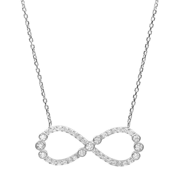 3/8 CT. T.W. Round-cut CZ Bezel Set Infinity Pendant Necklace in Sterling Silver - Silver (18), Women's
