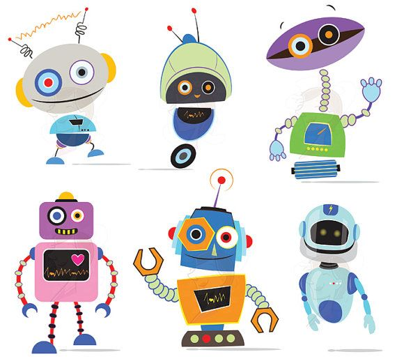 Robots Clipart Clip Art Cute Robots Party by MayPLDigitalArt, $7.50