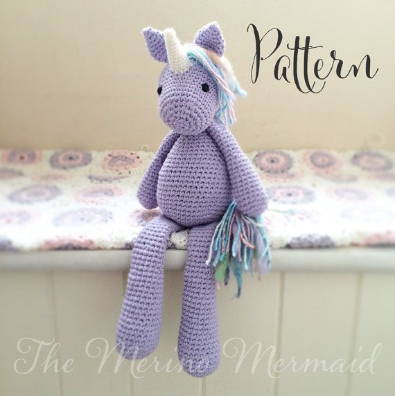 Lavender the Unicorn Crochet Amigurumi Pattern PDF E-book Toy                                                                                                                                                                                 Plus