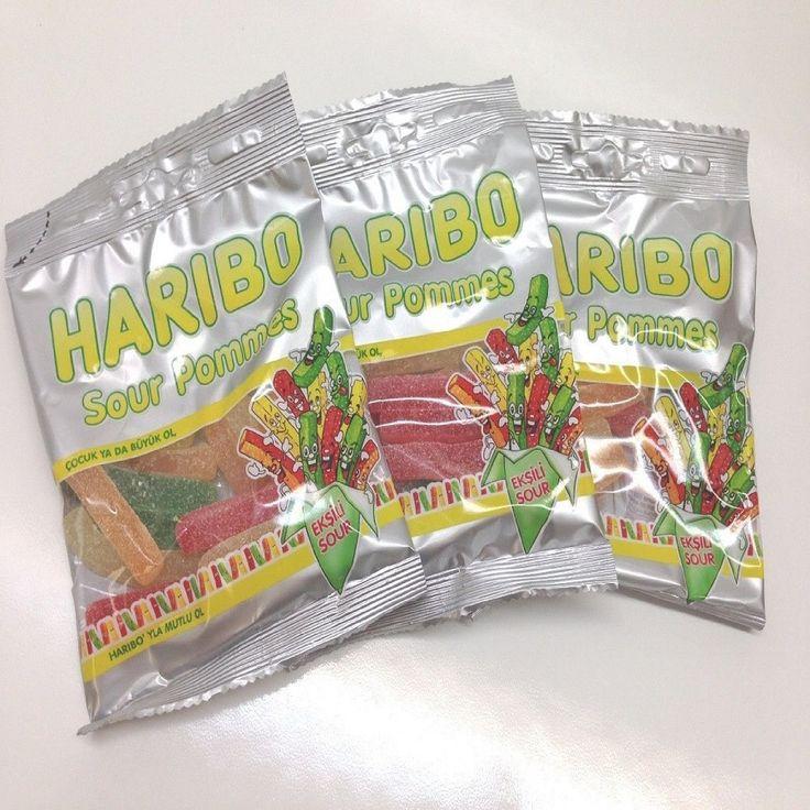 Haribo Gummi Candy, Sour Pommes, 80g x , Halal, 3 Packs, Eksili Sour