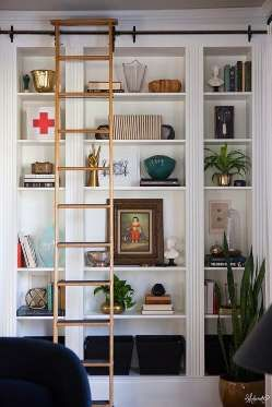 expensive looking ikea hack - The sliding library ladder gives the built-ins an undeniably high-end look. - Provided by PopSugar