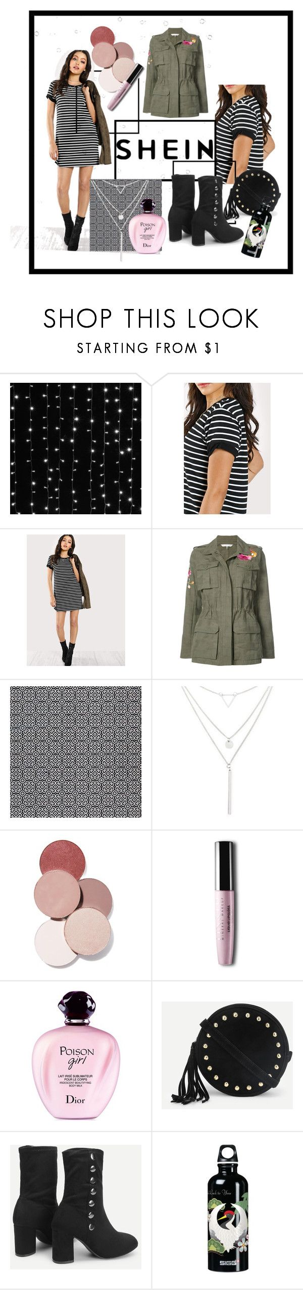 """""""little STRIPED dress"""" by mrscindeaser ❤ liked on Polyvore featuring 3M, Trina Turk, Riah Fashion, LunatiCK Cosmetic Labs and Christian Dior"""