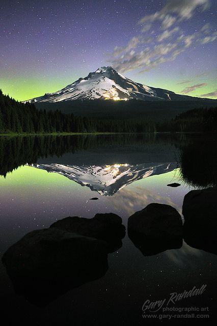 The Green Lantern, aurora at Trillium Lake, Mt. Ranier National Park, WA