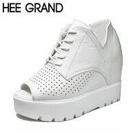 HEE GRAND Женщин Сандалии Плоским Платформа Высота Увеличение Peep Toe ПУ зашнуровать Крышка Каблука Летняя Обувь Девушку Размер 39 XWZ4084