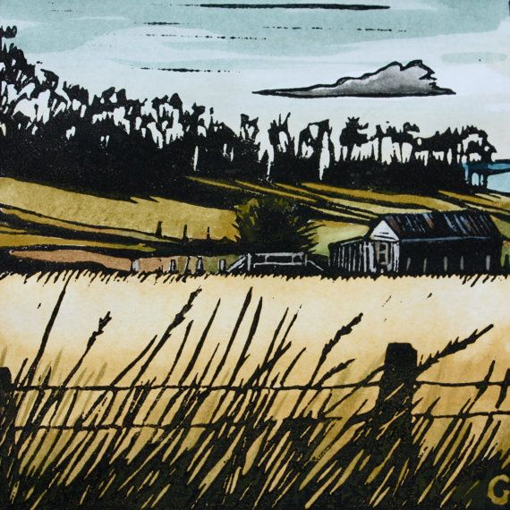 How I love a good linocut! Linocut Print Hand Painted Tasmanian Landscape by trees4thewood, $50.00