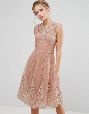 Chi Chi London Premium Lace Midi Dress with Scalloped Back