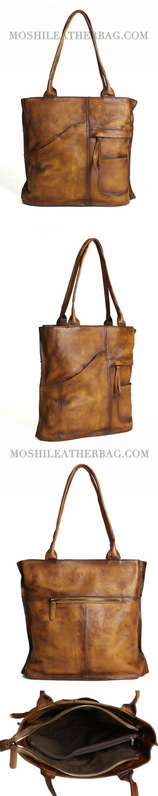 Vintage Brown Leather Tote Bag, Women's Designer Handbags DD103