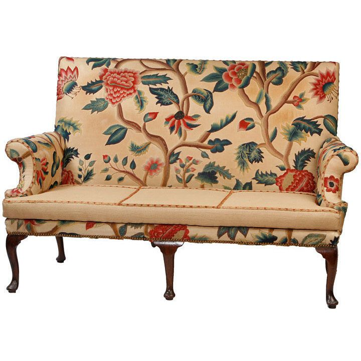 Queen Anne Walnut Settee Covered in Antique Crewl Work160 best Needlepoint Upholstered Chairs images on Pinterest  . Antique Queen Anne Upholstered Chairs. Home Design Ideas