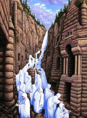Rob Gonsalves (born in 1959 in Toronto, Canada) is a Canadian painter of magic realism with a unique perspective and style. He produces original works, limited edition prints and illustrations for his own books.