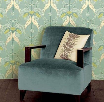 Modern wallpaper: Robin's egg blue + birds of paradise in Arts & Crafts Bloomsbury print by xJavierx, via Flickr